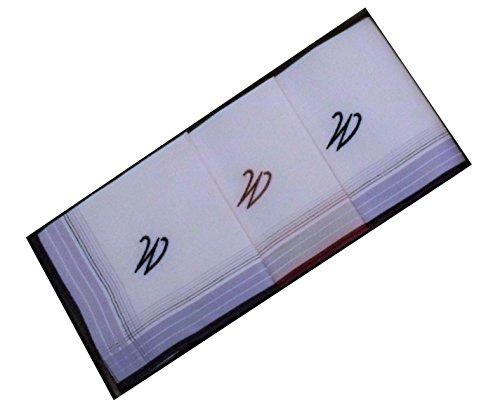 3 Stück Herren-Monogrammtaschentücher | Baumwolle mit farbiger Satinkante | Im Klarsichtkanton | In blau und wein-rot | Freie Monogrammwahl, W, 40 cm x 40 cm