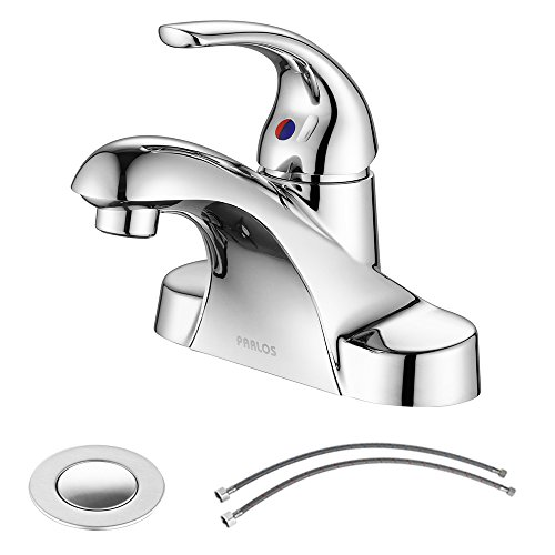 PARLOS Single Handle Centerset Bathroom Sink Faucet with Drain Assembly and cUPC Faucet Supply...