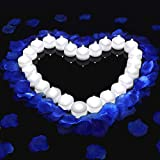 Mudder 1000 Pieces Artificial Fake Rose Petals with 24 Pieces Flameless LED Tea Lights Candles for Romantic Night, Valentine's Day, Wedding Flower Decoration, Anniversary, Honeymoon (Blue)