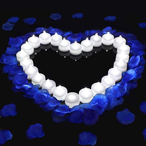 1000 Pétalos de Rosas Artificiales Falsos con 24 Velas de Té de Luces LED sin Llama para Decoración Floral de Noche Romántica, San Valentín, Boda, Aniversario, Luna de Miel (Azul)