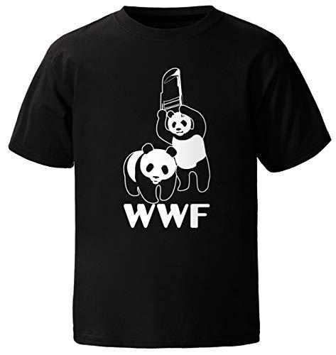 WWF Steel Chair Panda (WWE) Black Heavyweight T-Shirt (XL)