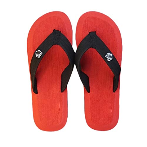 Comaba Men Beach Summer Flip Flop Slippers Casual Comfy Anti-Slip Sandals Red 38