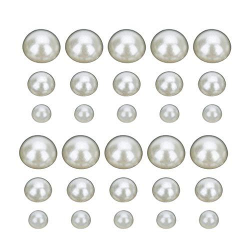 EXCEART 600 Piezas de Perlas Medias Perlas Perlas Redondas Planas Perlas de Imitación Semicírculo Perlas 3 Mm 5 Mm 8 Mm Suministros de Joyería Adornos para Uñas
