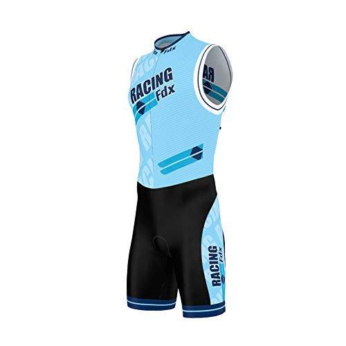FDX, tuta da uomo per triathlon, imbottita e comprimente, con stampa a sublimazione, per corsa, nuoto, ciclismo, Sky Blue, M