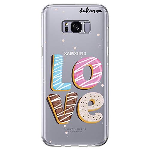 dakanna Funda Compatible con [Samsung Galaxy S8 Plus] de Silicona Flexible, Dibujo Diseño [Palabra Love de Pastel], Color [Fondo Transparente] Carcasa Case Cover de Gel TPU para Smartphone