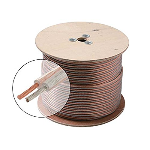100' FT 18 AWG Speaker Cable 2-Conductor Wire Clear Jacket Spool Pure Copper Oxygen Free 18 Ga 18/2 In-Wall Super Flex Digital Audio Signal Home Theater Sound, UL Listed