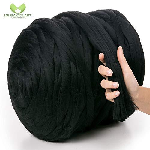 MeriWoolArt 100% merinowol voor breien en haken met 4-5 cm dik garen | dikke merinowol voor XXL sjaal, deken & kussens 250g zwart