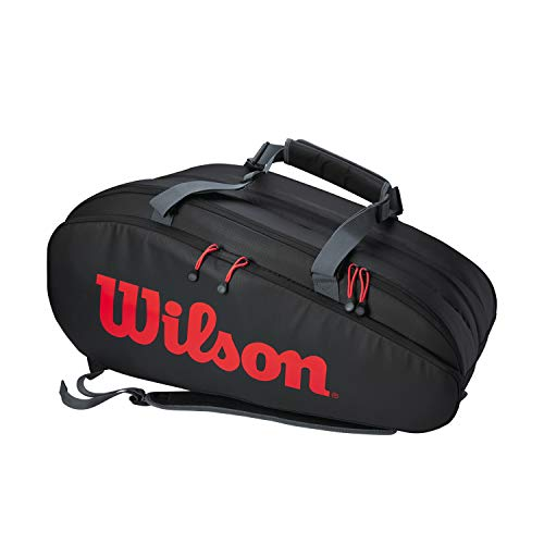 Wilson Bolsa para raquetas de tenis, Tour Clash, Hasta 15 raquetas, Cintas de mochila, Negro/rojo, WR8005001001