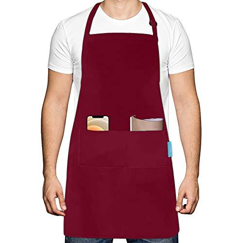 esafio Verstellbarem Kochschürze Küchenschürze mit 2 großen Taschen Wasserdicht Latzschürze Grillschürze für Männer, Schürze für Garten Kellner Künstler,Rot