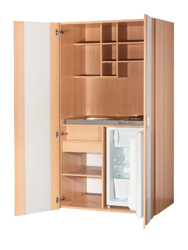 Schrankküche Buche 1,00 m Büroküche Kühlschrank Singleküche Minik