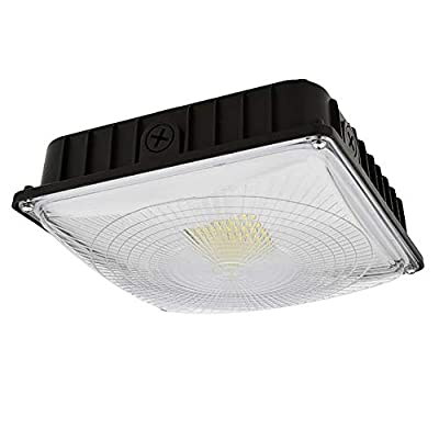 LEDwholesalers 70 Watt UL Listed + DLC LED Canopy Light with 175W mH Equivalent Bronze Finish, 110-277V, 3925
