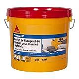 SikaWall Enduit de Lissage et de Finition murs et plafonds prêt à l'emploi en pâte, facile à poncer, Blanc, 5kg ~ 15m²