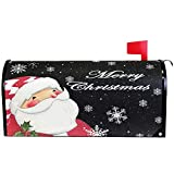 """Merry Christmas Tree Santa Claus Snowflake Snowman Mailbox Cover Magnetic Standard Size,Winter Red Poinsettia Holiday Letter Post Box Cover Wrap Decoration Welcome Home Garden Outdoor 21"""" Lx 18"""" W"""