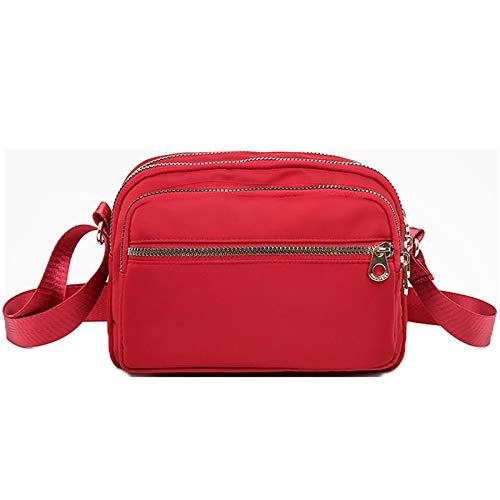 Bolso De Nailon Para Mujer Bolso De Hombro Ligero Bolso Diagonal Bolso Pequeño Para Mamá Cartera(Size:21 * 13 * 15cm,Color:rojo)