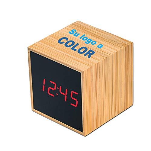Promo shop Reloj de Mesa Personalizado LED Fabricado en Madera de Bambú · Reloj Despertador Digital Táctil con Control de Temperatura y Fecha