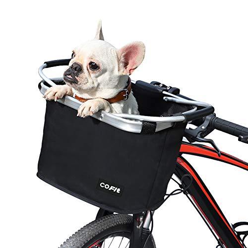 COFIT Canasta de Bicicleta Plegable Negro, Canasta de Manillar de Bicicleta Multiusos Extraíble para Porta Mascotas, Bolsa de Compras, Bolsa de Viaje, Camping al Aire Libre