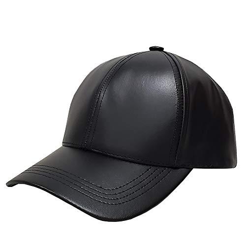 Emstate Cowhide Leather Unisex Adjustable Baseball Cap Made in USA (Black)