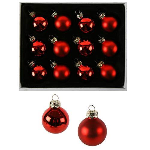 24 x oder 12 kleine Baumkugeln aus Glas Ø 2 cm - Christbaumkugeln Baumschmuck Christbaumschmuck Weihnachtsbaumschmuck Weihnachtsbaumkugeln (12 Stück Rot 3 cm)