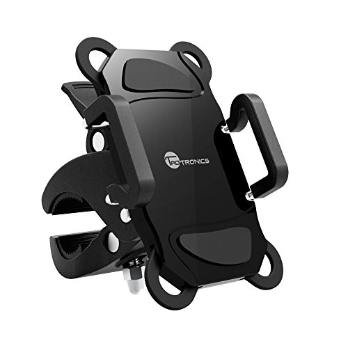 Bike Phone Mount Bicycle Holder, TaoTronics Universal Cradle for iOS, Android Smartphones, and Other Compatible Devices, Slide-Proof Clamp, 360 Degrees Rotatable, Rubber Strap