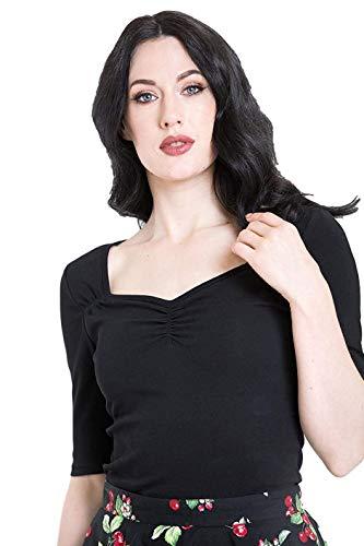 Hell Bunny Camiseta Philippa Retro Vintage - Negro (XS - ES 36)