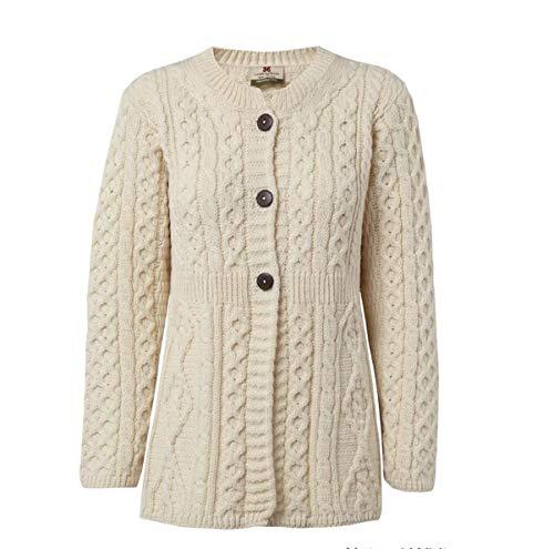 Carraig Donn 100% Merinowolle A Line Aran Wollpullover Strickjacke für Damen, in (Natur, XX-Large)