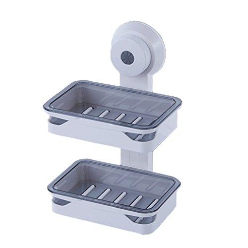Qivor Ventosa Montada en la Pared Doble Caja de jabón Grande Desagüe Creativo Perforación Libre Cuarto de baño Jabón