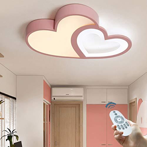 LED Deckenleuchte Kinderzimmer Lampe Dimmbar Mit Fernbedienung Deckenlampe Kreative Modern Romantisch Designer Pink Kronleuchter Herzform Acryl Deko Licht Mädchen Junge Schlafzimmer Deckenleuchten