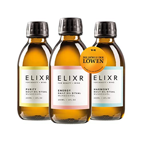 ELIXR Mundziehöl zum Ölziehen I Energy Harmony Purity 3er Set aus Die Höhle der Löwen 3 x 200ml I Zertifizierte Naturkosmetik I Ölziehkur Zahnöl
