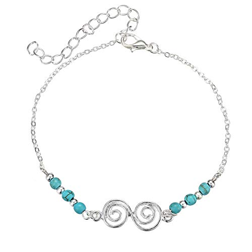 Bohemian stijl turquoise armband strand spiraal enkelbandje meisjes armband verstelbaar