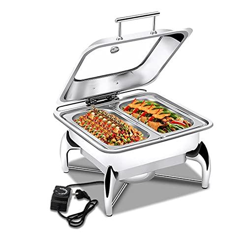 LYUQIU Chafing Dish Electrico para Buffet, Calentador De Buffet Alimentos Calientes con Tapa Hidráulica Visual y Soporte Desmontable, Hay Dos Tipos de Bandejas Disponibles (Acero Inoxidable/Cerámica)