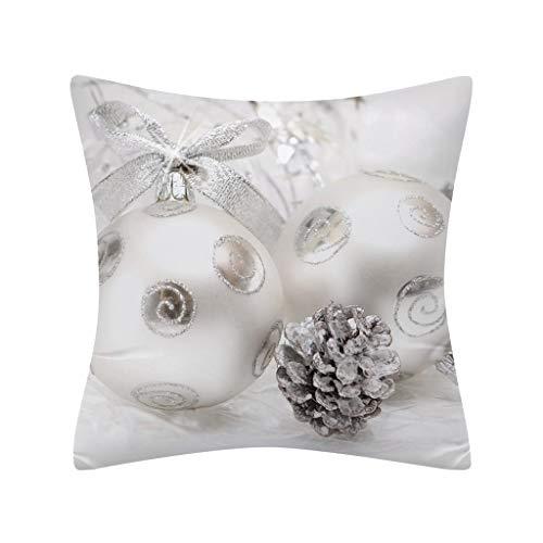 Iusun Merry Christmas Pillow Covers Glitter Polyester 18Inches Square White Print Waist Throw Pillowcase Fall Winter Autumn Season Decor Sofa Home Decorative Cushion Covers (L)