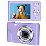デジタルカメラ デジカメ コンパクト HD 16倍ズーム44MP 2.7Kデジタルポイントおよびシュートカメラビデオカメラを備えた1080PビデオブログLCDミニカメラ キッズ学生初心者のための屋内屋外(紫の)