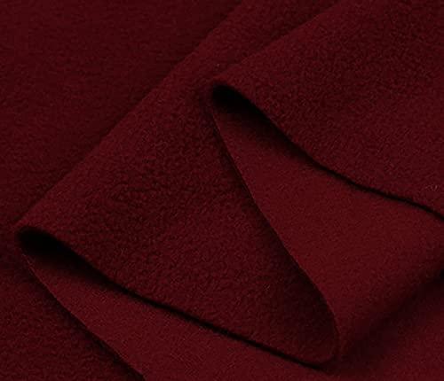 Yimihua Tela De Vellón Tejido Polar Fleece Terciopelo Tela De Felpa para Coser Bricolaje Tela de Fondo Hecha a Mano.Ancho 160 CM (Medio Metro)(Color:Rojo Oscuro)