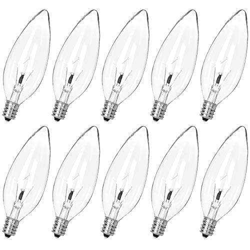 10 Pack 25W 120V E12 Base B10 CTC Incandescent Clear Light Bulbs,Transparent Candle Light Bulbs for Chandeliers, Ceiling Fan Lights, Pendants, Fireplace