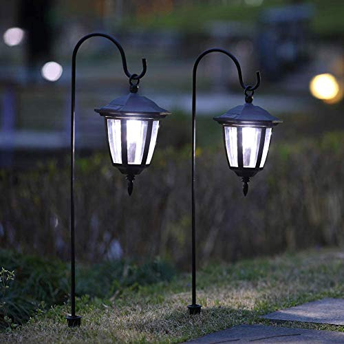 Maggift 34 Inch Hanging Solar Lights Dual Use Shepherd Hook Lights with 2 Shepherd Hooks Outdoor Solar Coach Lights, 2 Pack