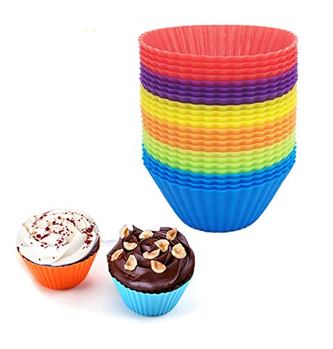 Reusable Silicone Cupcake Baking Cups 24 Pack, 2.75 inch Silicone Baking Cups, Reusable & Non-stick Muffin Cupcake Liners for Party Halloween Christmas,6 Rainbow Colors (Pack of 24,Multicolor)