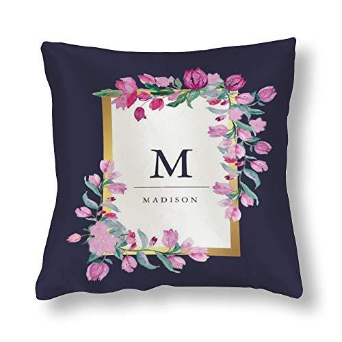 perfecone Home Improvement Funda de almohada de algodón doble medianoche azul, oro y rosa buganvilla flores sofá y coche funda de almohada 1 paquete 19.7 x 19.7 pulgadas / 50 cm x 50 cm