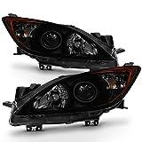 ACANII - For Update Black Smoke 2010-2013 Mazda 3 Mazda3 Halogen Model Headlights Headlamps Driver + Passenger Side
