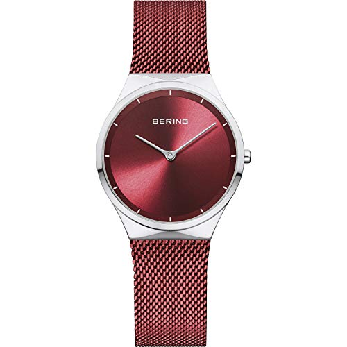 BERING Damen Analog Quarz Classic Collection Armbanduhr mit Edelstahl Armband und Saphirglas 12131-303