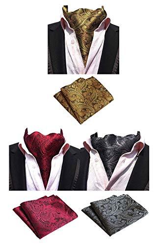 MOHSLEE Herren Luxus Paisley 3er-Pack Cravat Seide Ascot Schal Krawatte Einstecktuch Set Einheitsgröße Mixcolored-L01