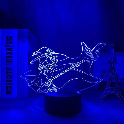 Lámpara de noche de anime 3D Konosuba Megumin para decoración de dormitorio noche noche regalos de cumpleaños para mujeres hombres Konosuba Manga Led -7 colores, control táctil