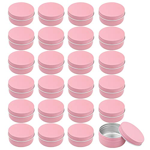 Foraineam 24 Pack 50ml Round Tins Pink Tin Cans Containers with Screw Top Lids