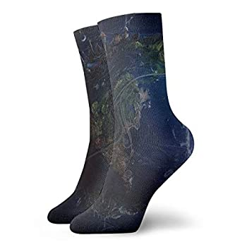 Unisex High Ankle Cushion Crew Socks Earth Digital Art Casual Sport Socks