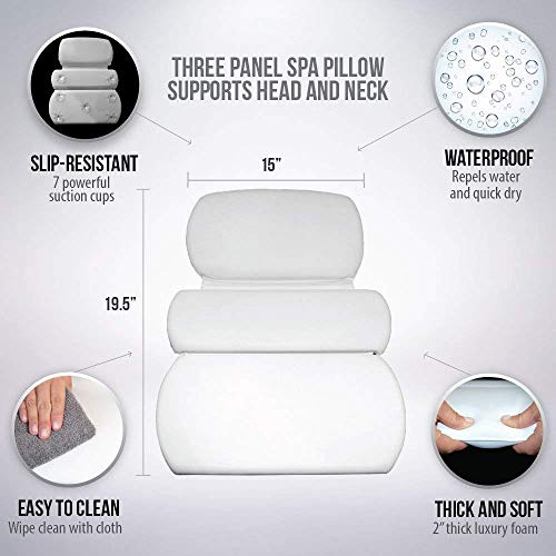 Gorilla Grip Original Spa Bath Pillow Features Powerful Gripping Technology, Comfortable, Soft, Large, 19.5 x 15, Luxury 3-Panel Design for Shoulder, Neck Support, Fits Any Size Tub, Jacuzzi, Cream