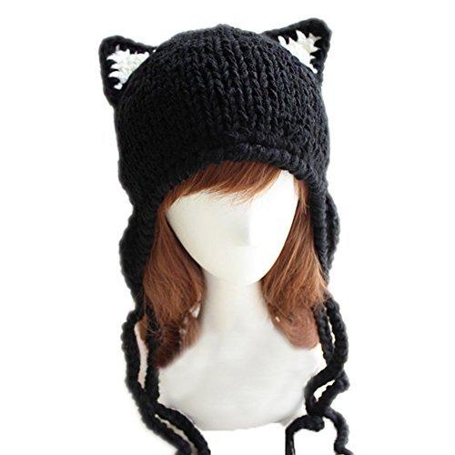 5be15ba35cb BIKMAN Cute Cat Ears Knit Hat Ear Flap Crochet Beanie Hat