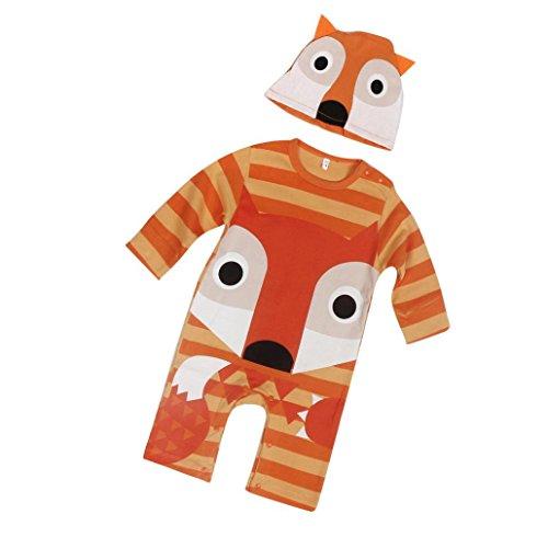 Tonwalk pour 9-24 Mois Bébé Ensemble de Vêtements, Bébé Fille Bébé Garçon Renard Manche Longue Pyjama Et Chapeau (18M, Orange)
