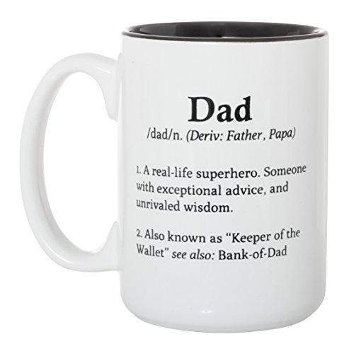 Dad Definition Superhero, Keeper of Wallet - Large 15 oz Double-Sided Coffee Tea Mug