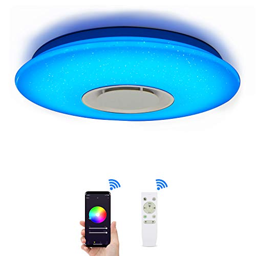 ELINKUME Lámpara de Techo LED Regulable de Color Cambio de Starlight de 36 W con Control Remoto (Compatible con Amazon Alexa)