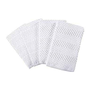 DII 100% Cotton Ultra-Absorbent Cleaning Drying Luxury Kitchen Chevron Bar Mop Dish Towels for Everyday Home Basic 16 x 19 Set of 4- White