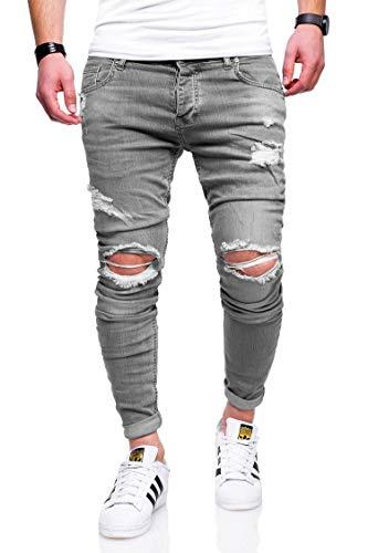 Rello & Reese Herren Jeans Destroyed Slim Fit Chino Hose Jeanshose RNJ-2763 [Grau, W32/L32]